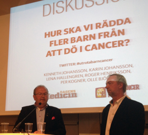 Bild från seminariet i Almedalen (vänster i bild, Kenneth Johansson, ordförande socialutskottet, till höger Olle Björk, Barncancerfonden)