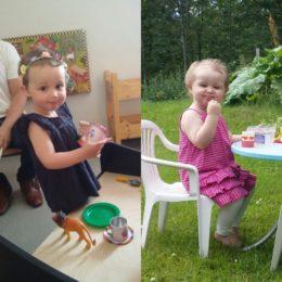 Bilderna är tagna med bara en månads mellanrum. Den till vänster togs den 13 juni, samma dag som intensivfasen började. Den högra togs den 14 juli, precis efter avslutad kortisonkur.